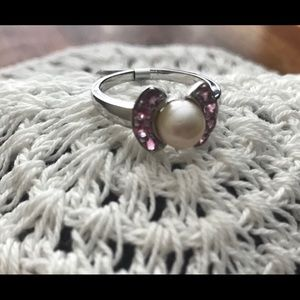 NWT Pearl & Pink Tourmaline SS Ring, Size 9
